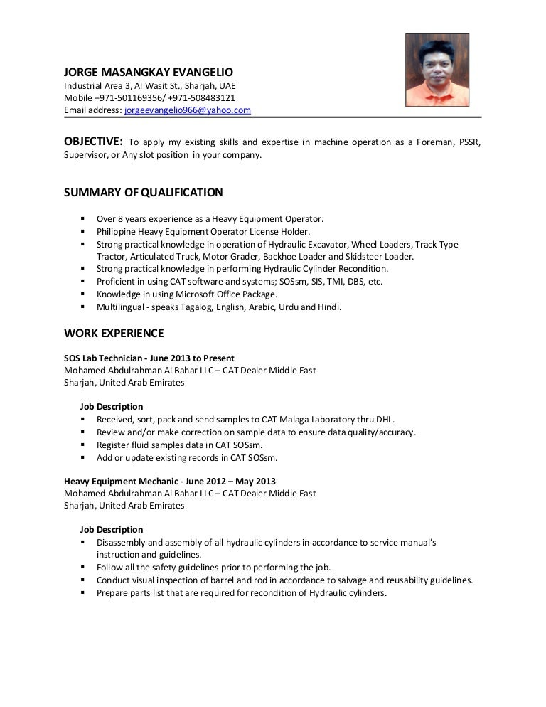 CV - Heavy Equipment Operator Foreman