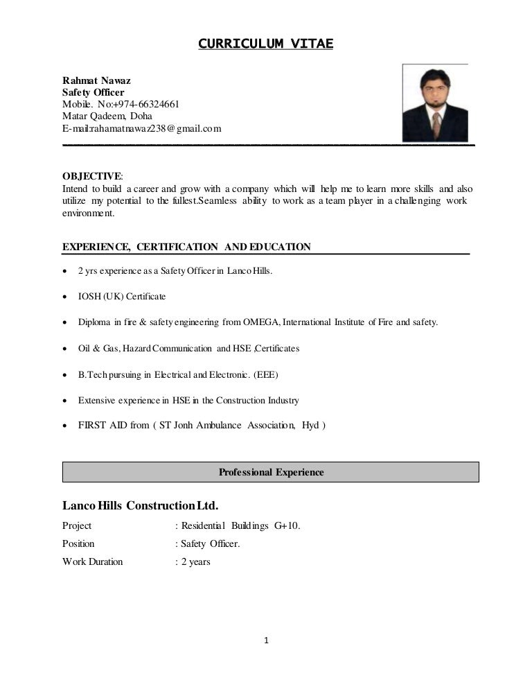 Awesome Construction Safety Representative Resume MyPerfectResume Com And Safety Officer Resume