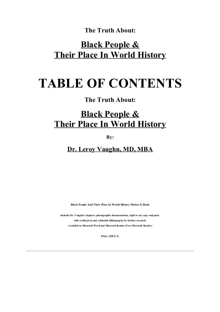 the truth about: black people and their place in world history, by dr…