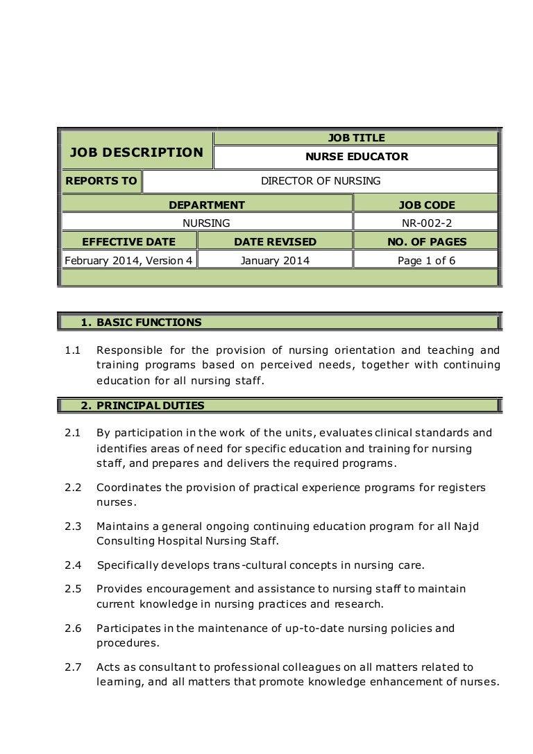 nurse educator job description - Clinical Supervisor Job Description