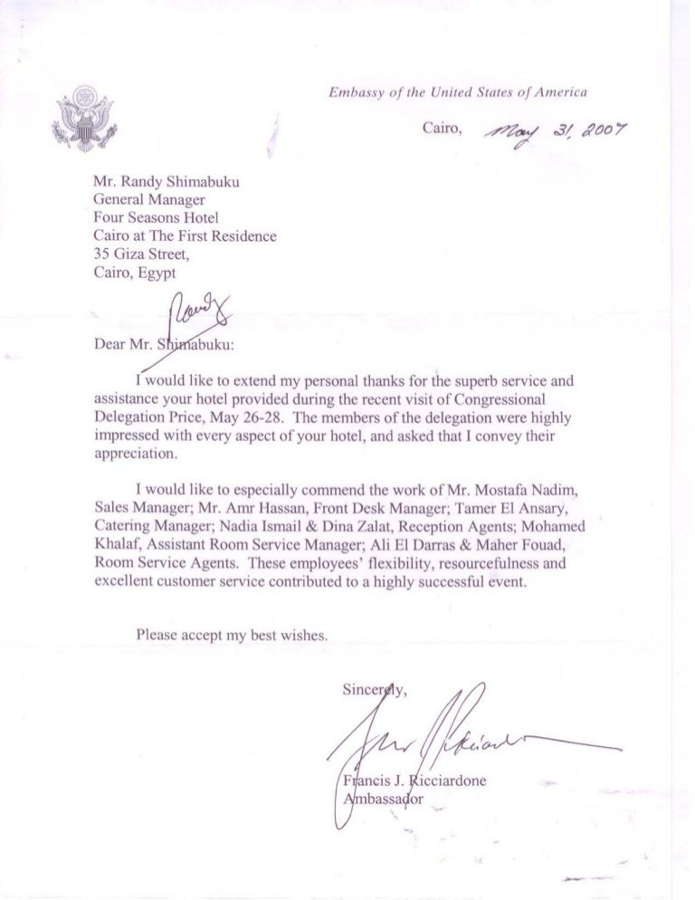 Four Seasons Embassy Of U.S.A Thanks Letter.Pdf