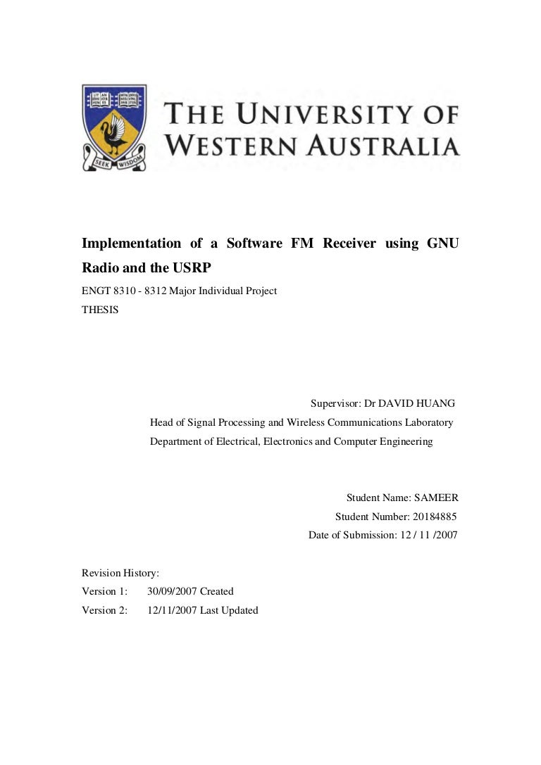 Uwa Me Project Report Implementation Of A Software Fm Receiver Usi Quadrature Demodulator Circuit