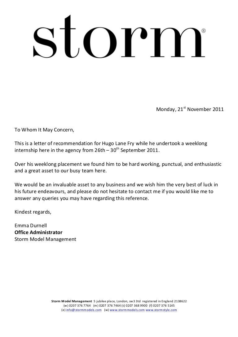 Work experience reference letter hugo fry 3 aljukfo Images
