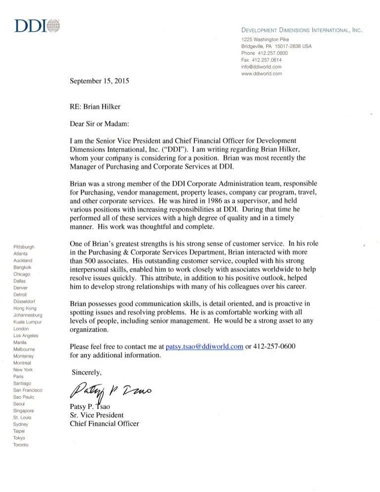 Reference Letter CFO
