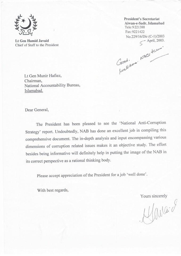 President Secretariat Appreciation Letter