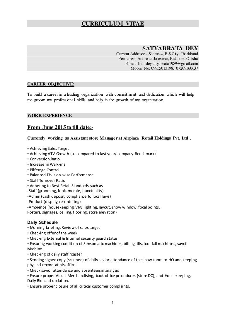 Resume Of Satya PGDM In Marketing With 4 7 Year Experience In Ret…