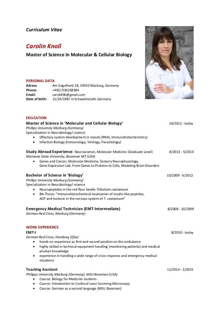 Carolin Knoll Curriculum Vitae