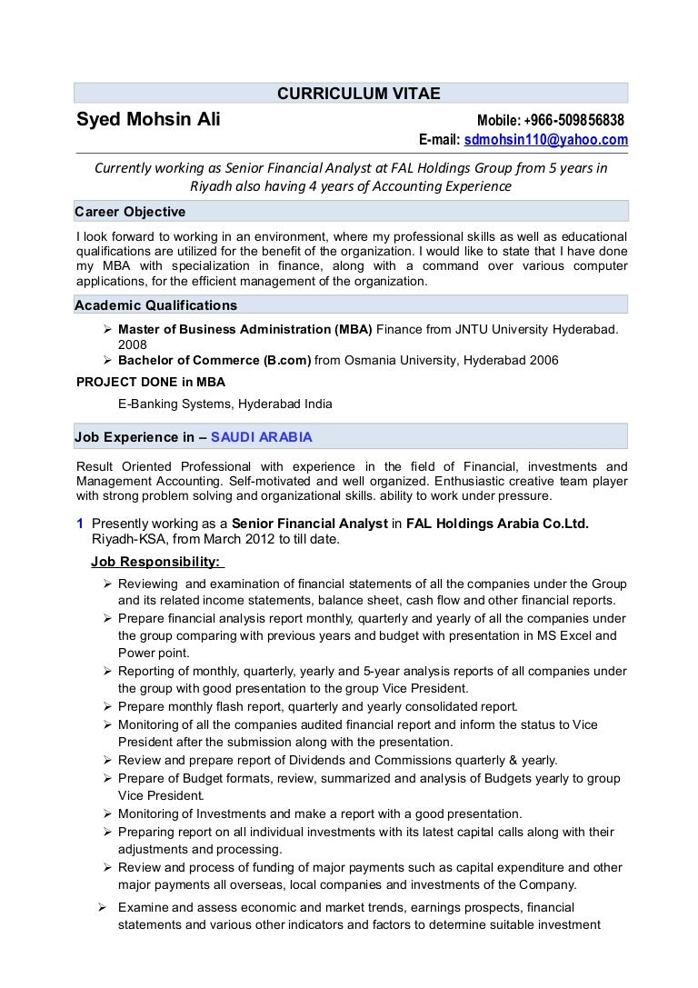 career objective for financial analyst financial analyst resume ...