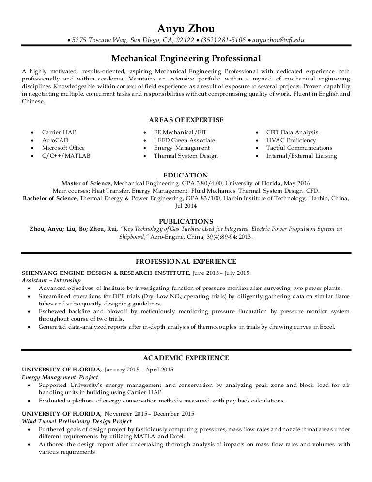 Beautiful San Diego Mechanical Engineering Resume Image ...