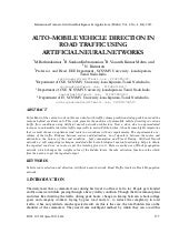 AUTO-MOBILE VEHICLE DIRECTION IN ROAD TRAFFIC USING ARTIFICIAL NEURAL NETWORKS.