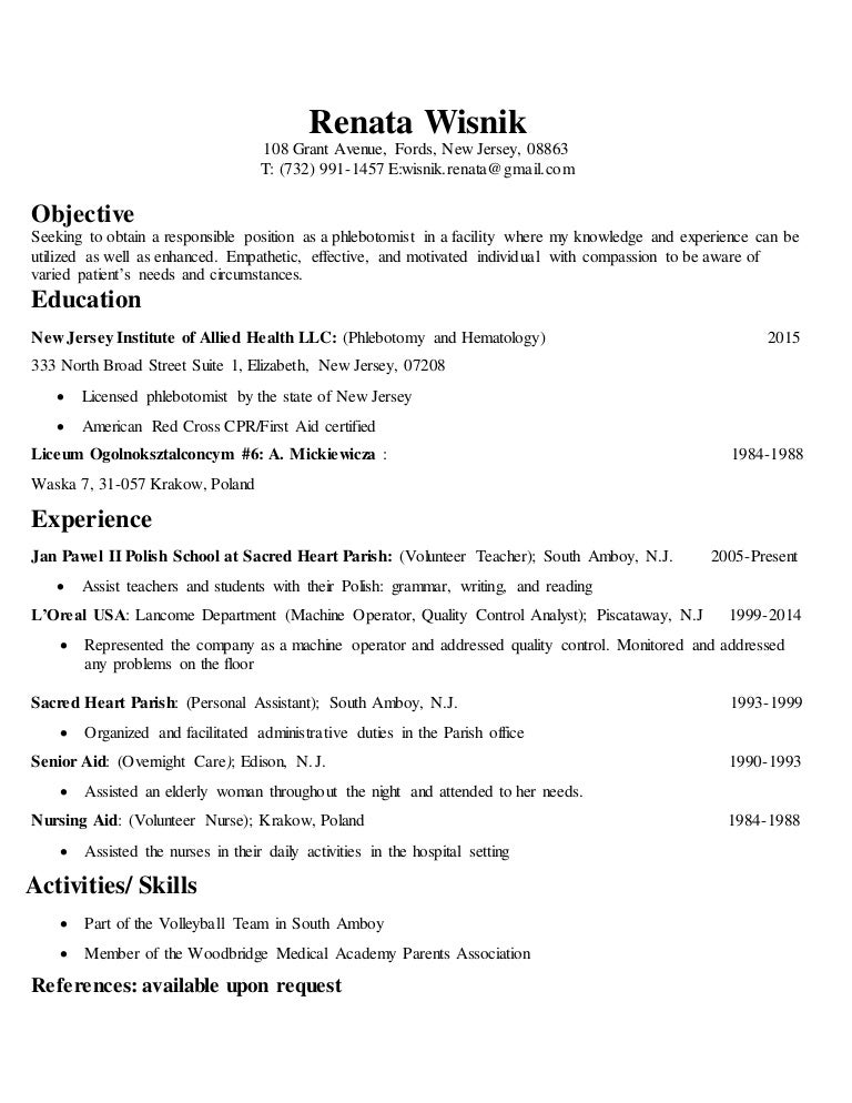 Phlebotomy Skills For Resumes  Phlebotomy Skills For Resume