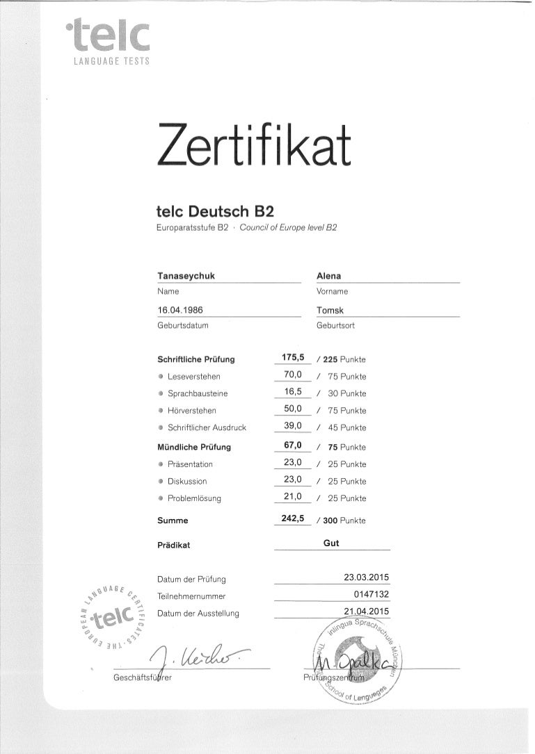 Alyona Tanaseychuk B2 Deutsch Telc Zertifikat