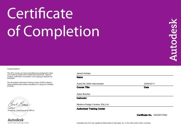 AutoCad Intermediate Certificate