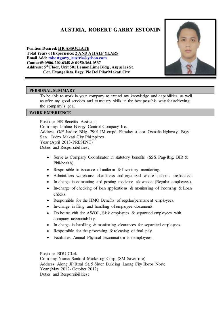 resume Resume Position Desired resume