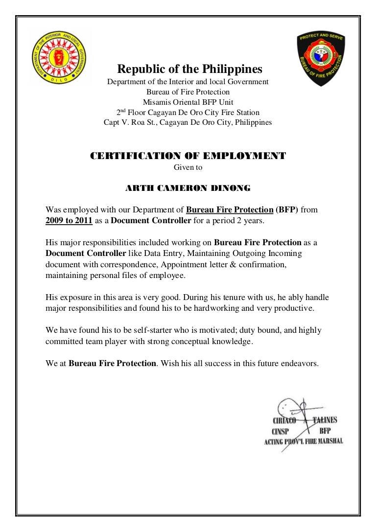 Bfp Certification Document Controller