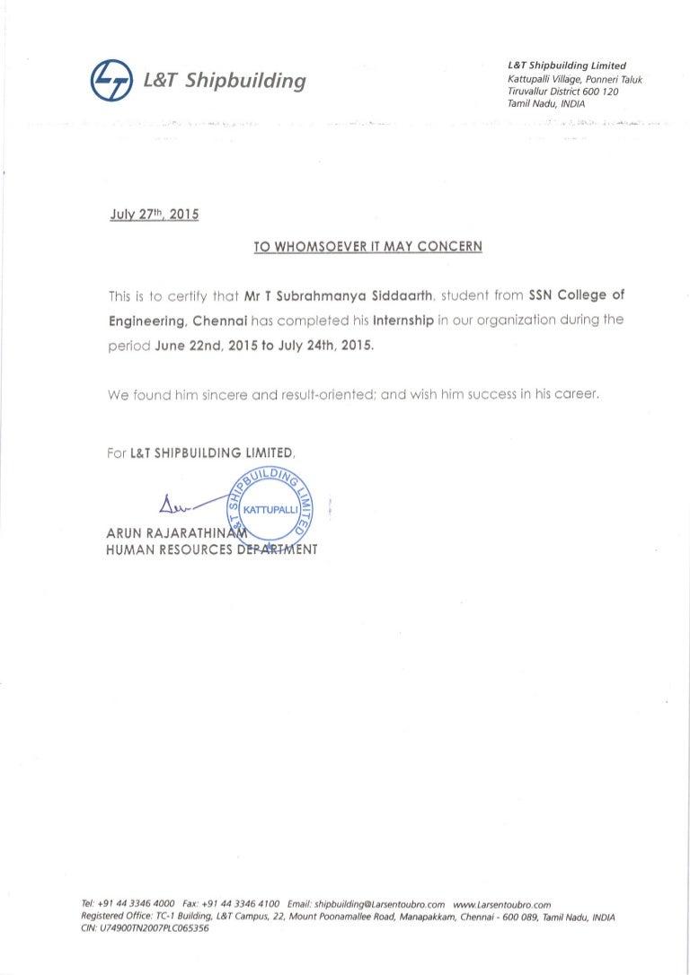 Internship Completion Letter Siddaarth S