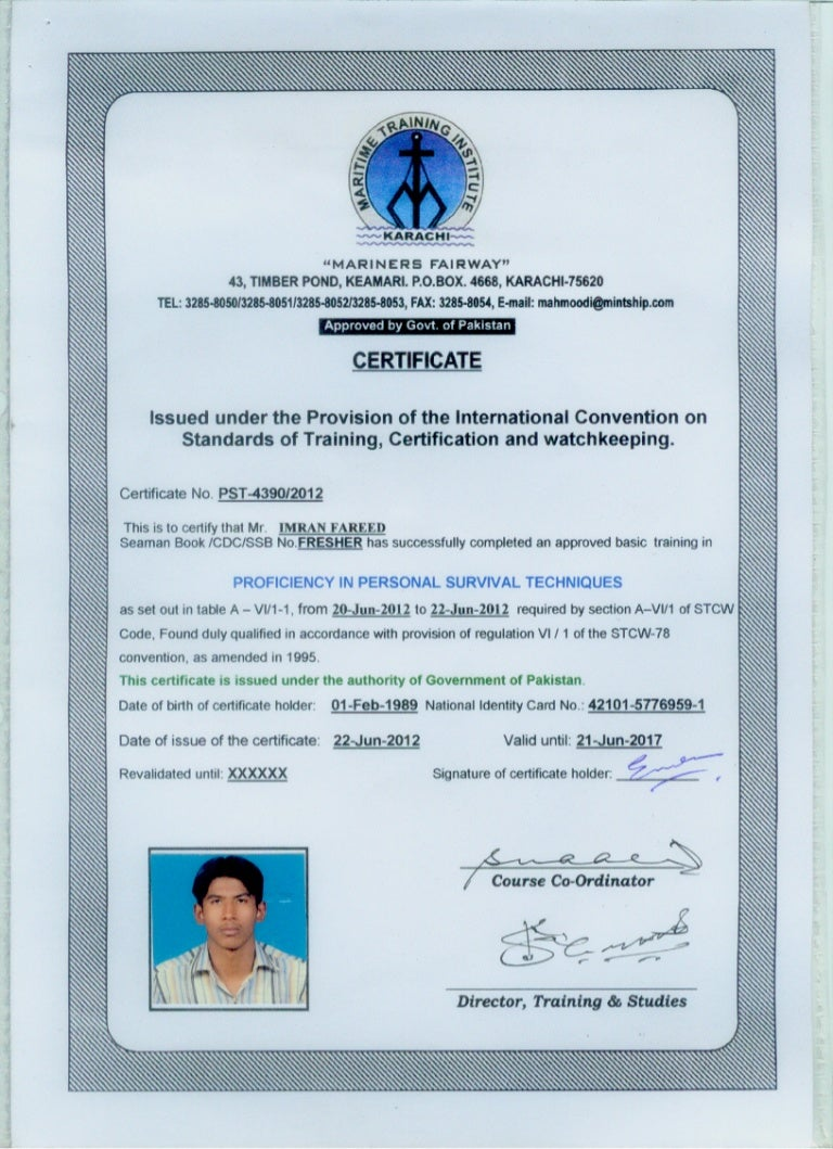 Personal Survival Techniques Certificate