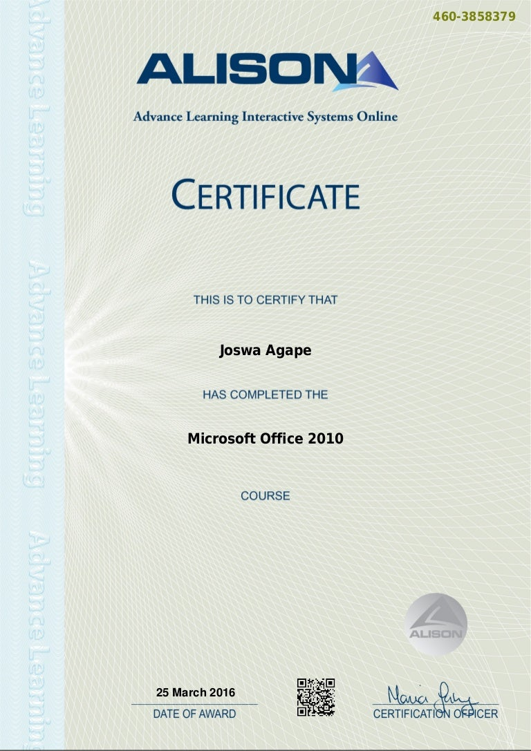 Office 2010 certificate microsoft office 2010 certificate 1betcityfo Gallery