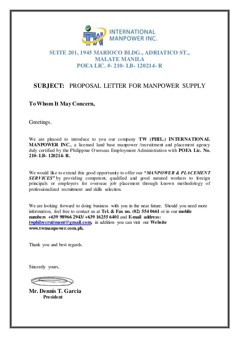 Proposal Letter For Manpower Request Tw Phil