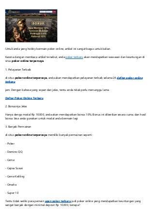 Modal 10 Ribu dan dapatkan Jutaan Rupiah di Situs Poker Online Terpercaya