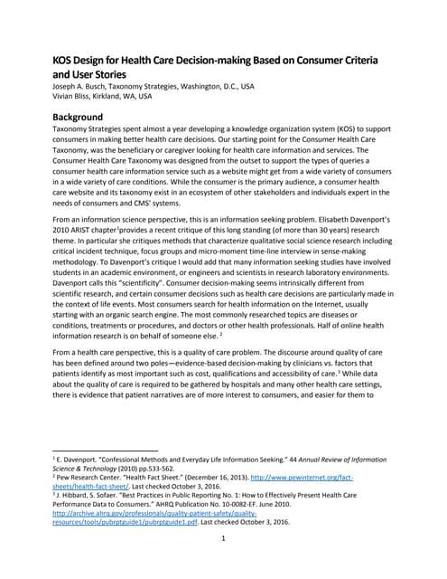KOS Design for Healthcare Decision-making-Paper