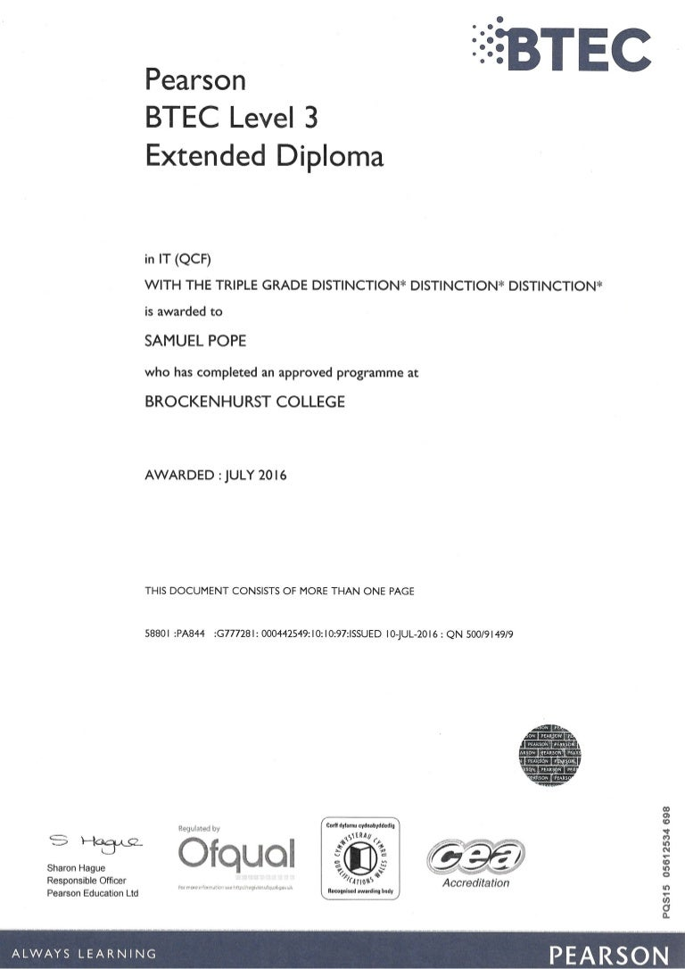 Btec level 3 extended diploma in it certification xflitez Image collections