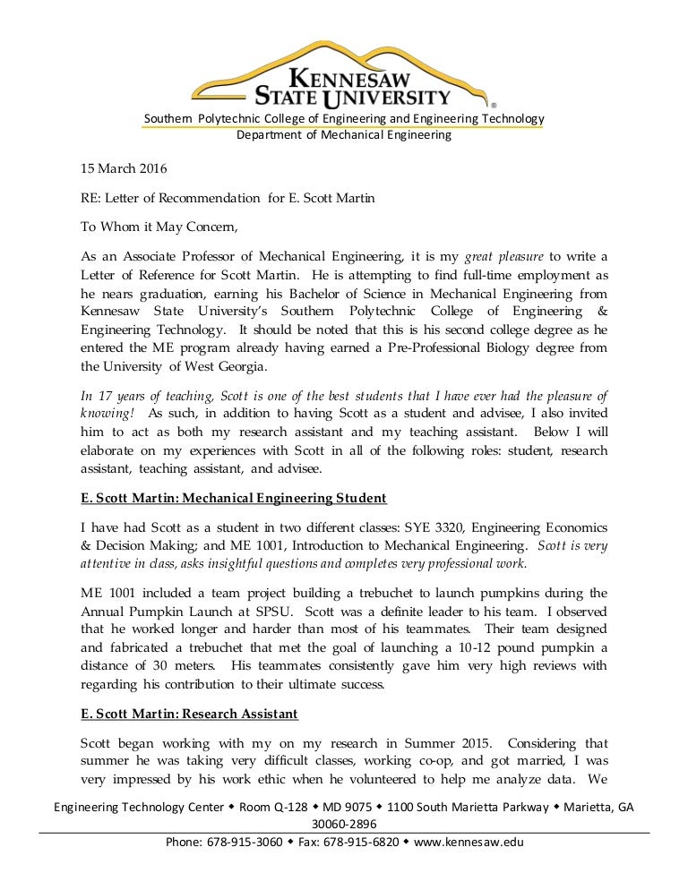 Recommendation letter for mechanical engineering job