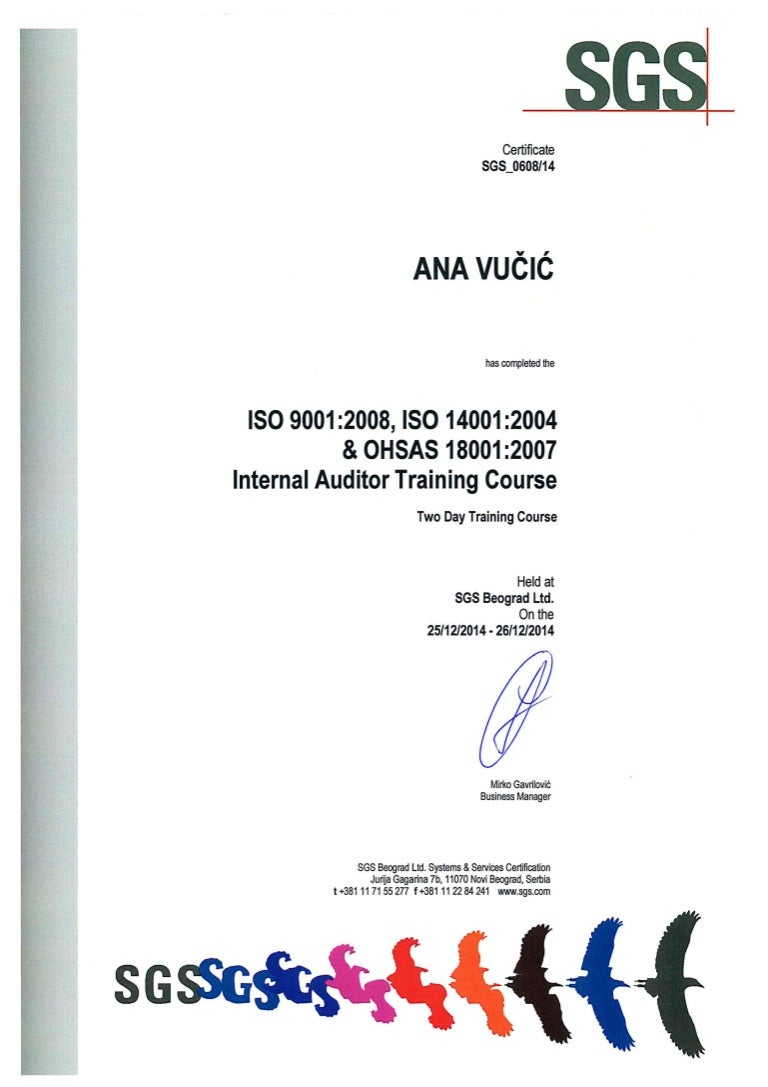 Sgs Certificate Internal Auditor