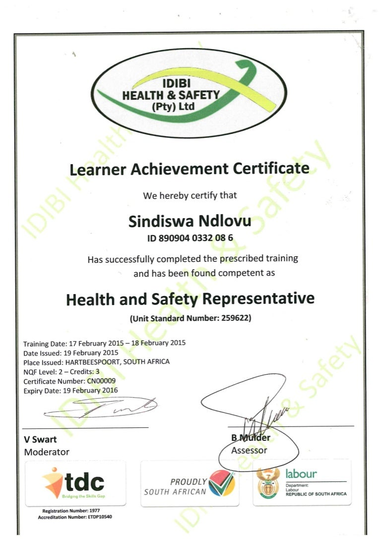 Health and safety representative certificate 1betcityfo Gallery