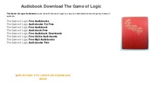 Audiobook Download Free Mp3 The Game of Logic