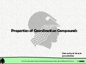 Chemical Structure: Chemical Bonding. Properties of Coordination Compounds
