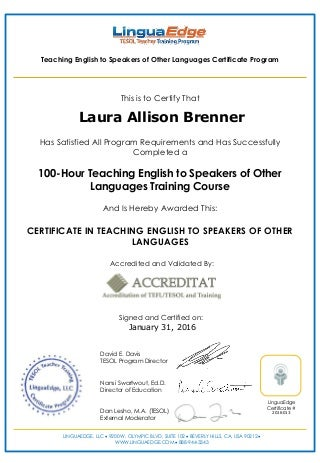 Specializing options for my TESOL/TESL certificate?