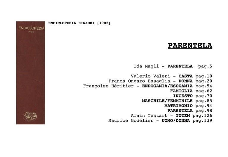 Calendario Magico Mestruazioni Antico.Parentela Enciclopedia Einaudi 1982