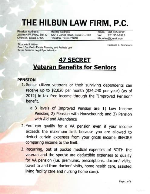47 Secret VA Benefits