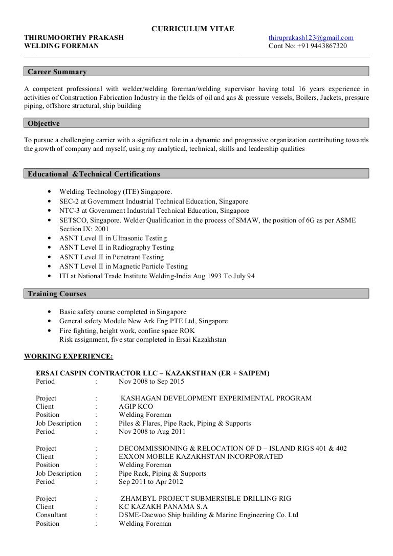 Resume For Welder Supervisor - Contegri.com