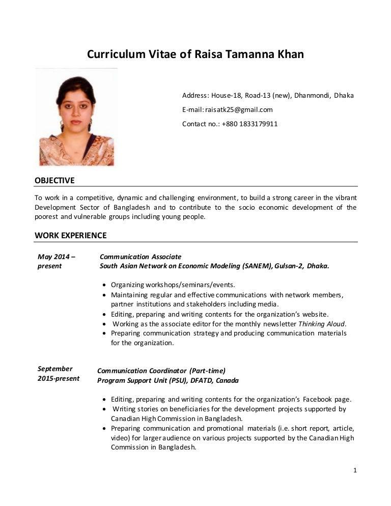 cv of raisa tamanna khan