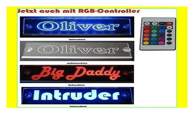 TRUCKER Nameplate LKW Namensschild LED Acryl Leuchtschild 12V 24V mit edler La