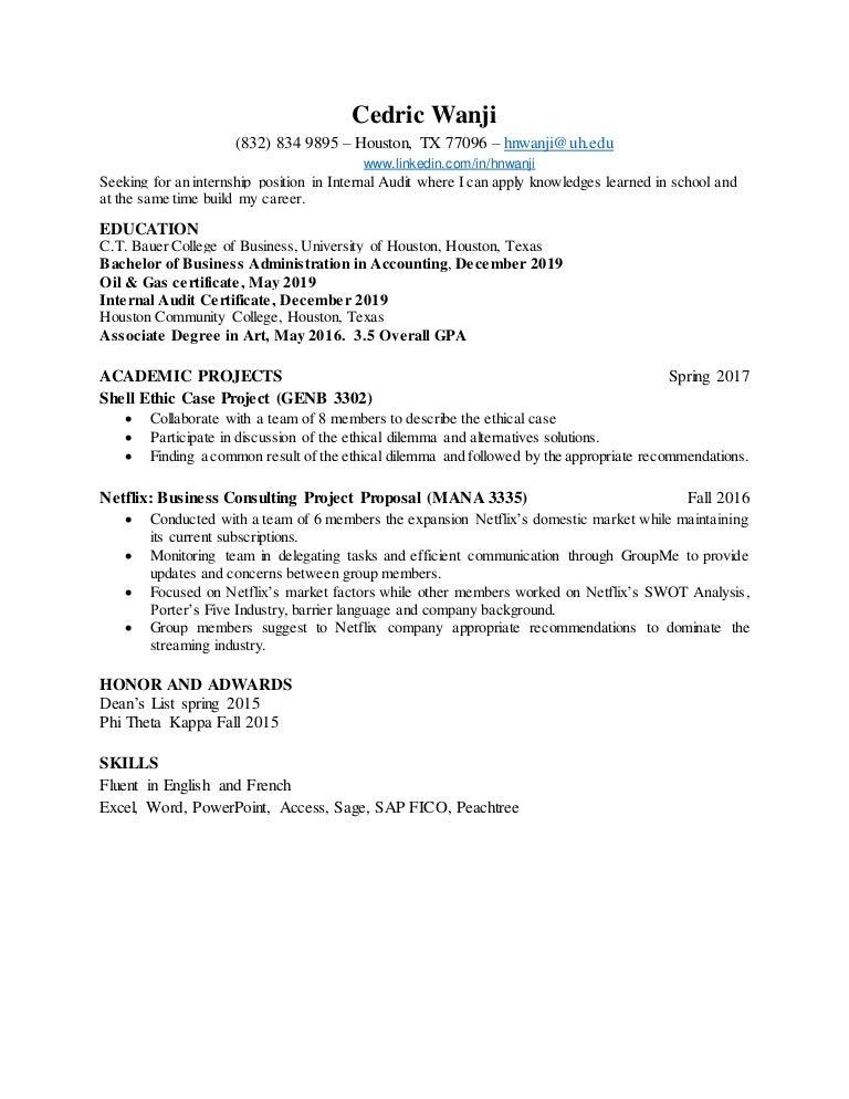 C T Bauer Resume