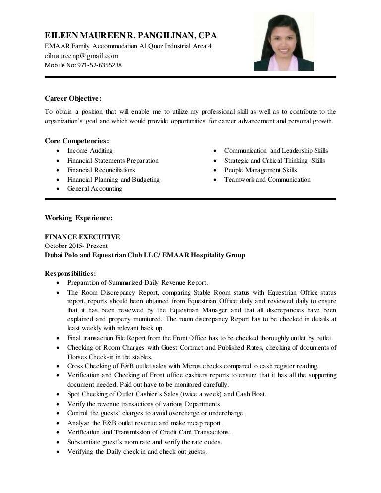 professional description for resume