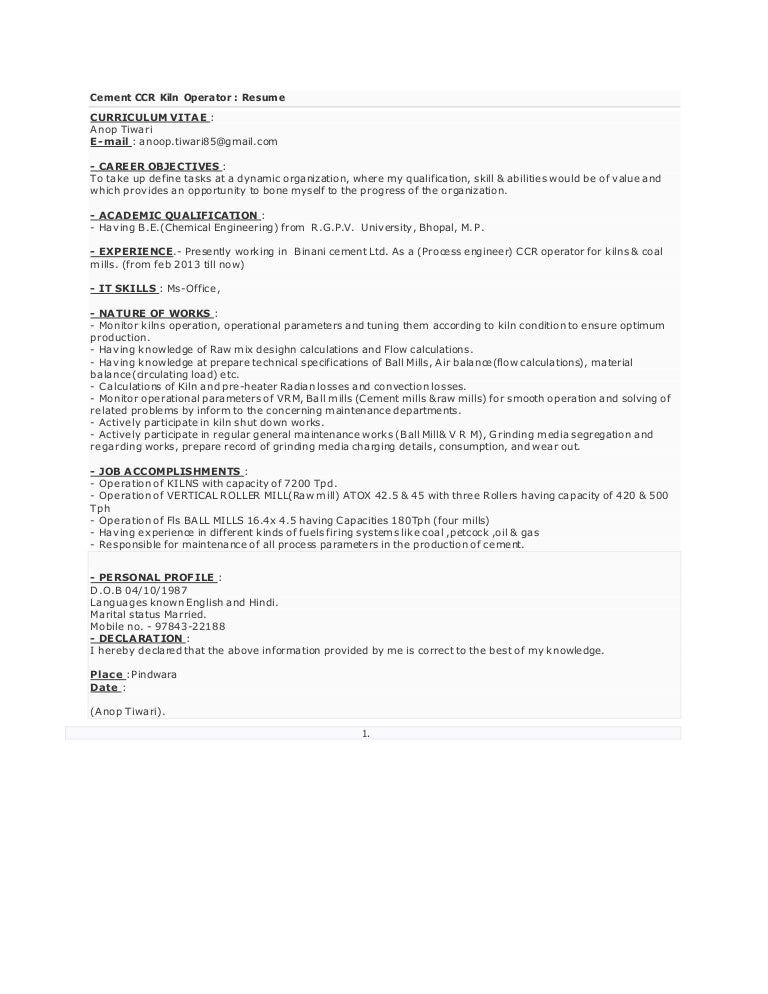 Cement Process Engineer Sample Resume Download Cement Process