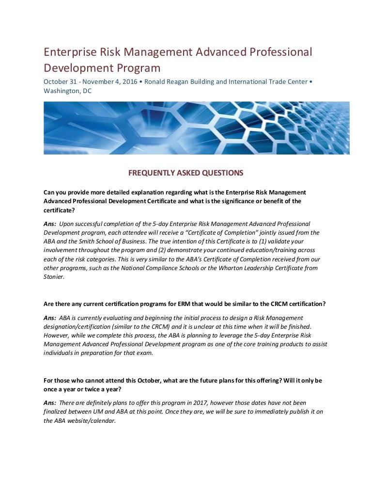 ERM Program FAQs