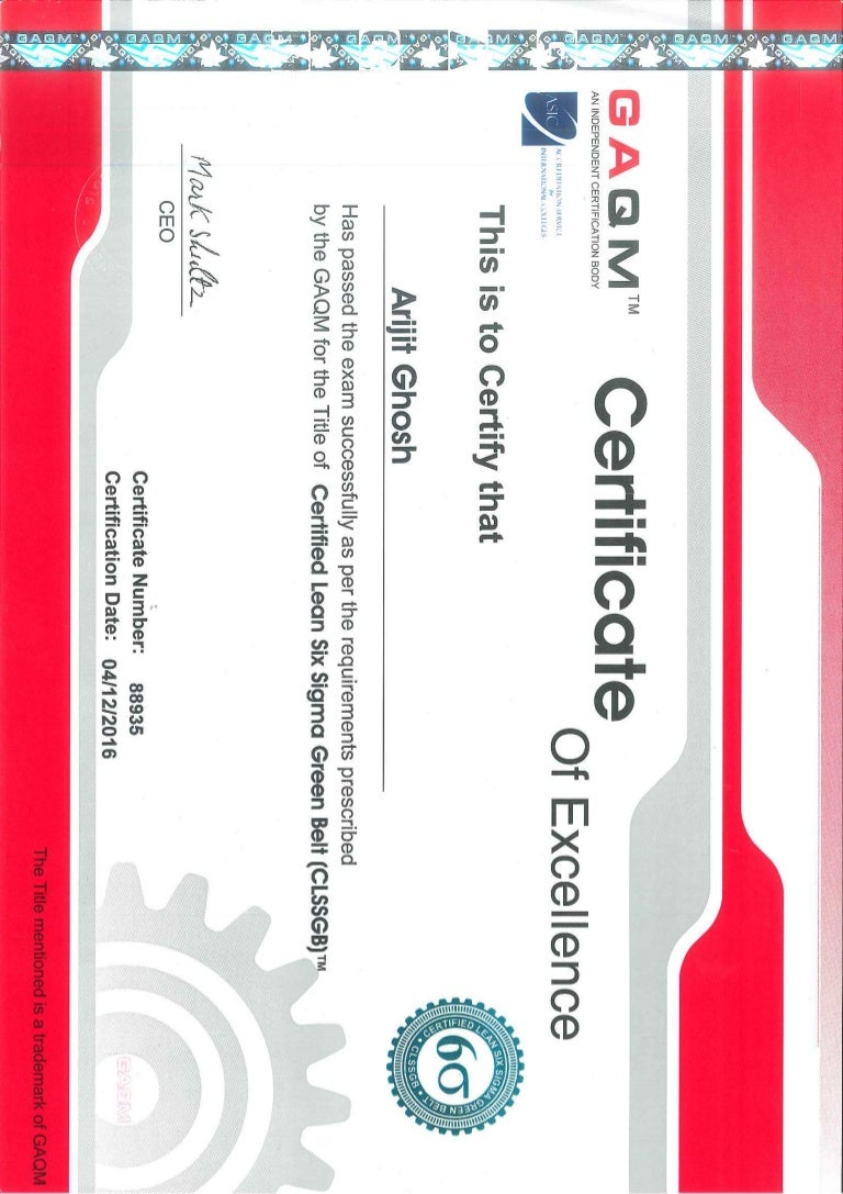 Lean six sigma green belt certificate by gaqm 1betcityfo Gallery