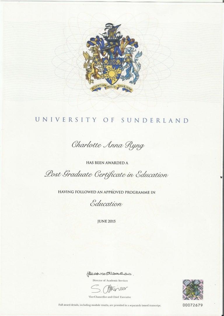 PGCE Certificate 2015
