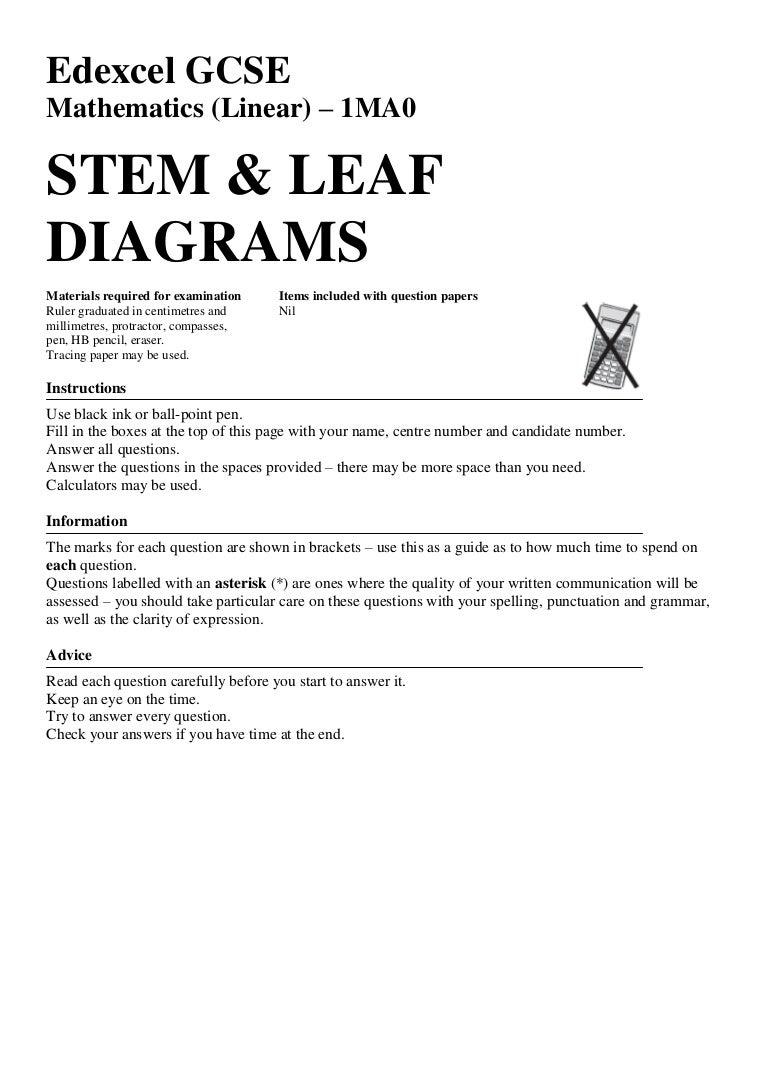 Back Displaying Mean, Mode, Median Edexcel June 2011 Q6 Stem And Leaf  Diagrams