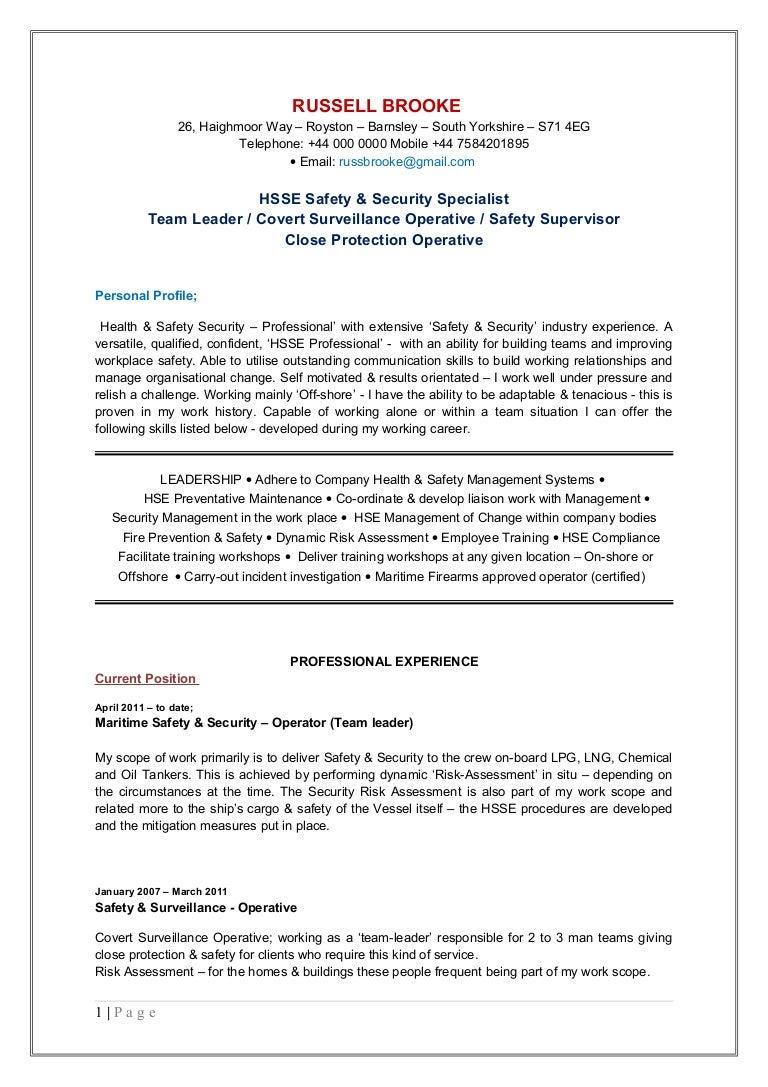 Russell Brooke HSE CV Updated