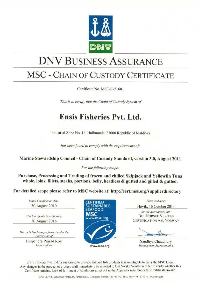 Msc certificate ensis fisheries pvt ltd xflitez Choice Image
