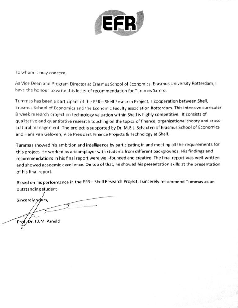 Letter Of Recommendation Erasmus University