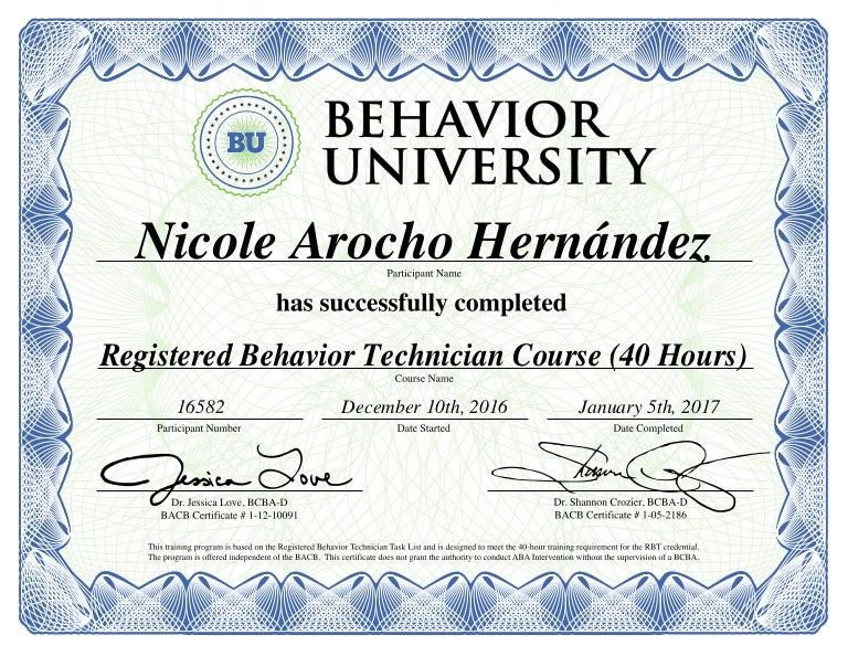 RBT Course Certificate