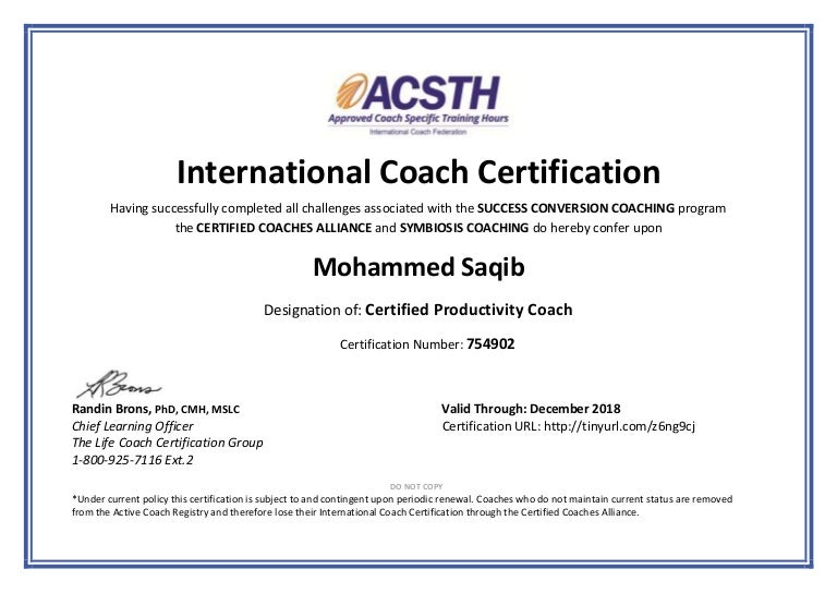 Certified Productivity Coach Certificate
