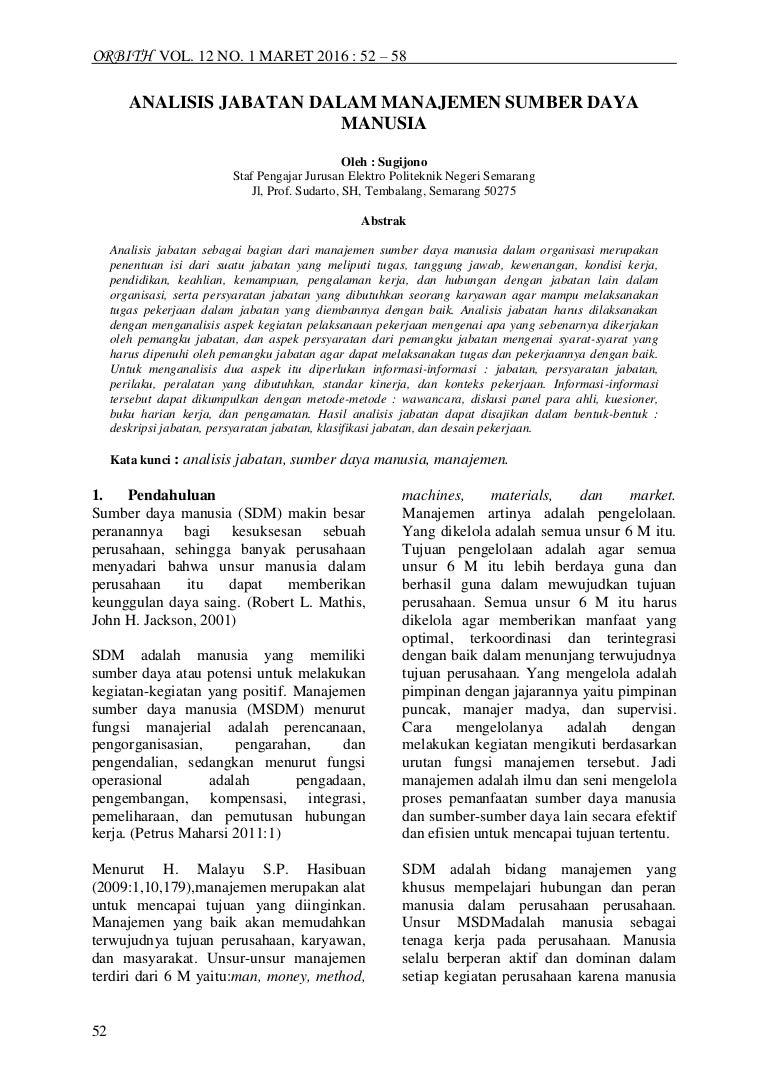 Analisi jabatan dalam manajemen sumber daya manusia
